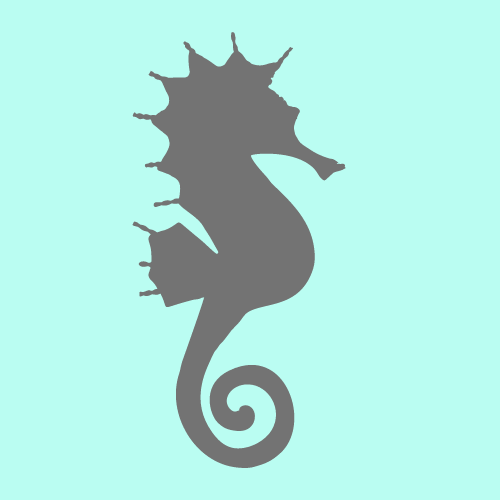 A silver seahorse silhouette against a mint green background.